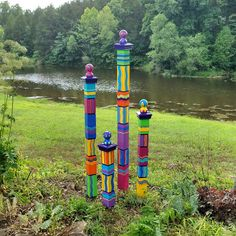 """My garden totems are hand painted on 4"""" x 4"""" Western Cedar. Each one is different, each one is unique, how ever they will look very similar to the ones pictured. They add a great splash... Art Totem, Dusty Blue, Garden Poles, Garden Stakes, Peace Pole, Art Français, Bright Color Schemes, Yard Art, Color Splash"""