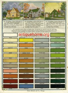 Seroco Historic Color Palette from the early 1900s. Yes, Pink is a historic color.   Color Scheme Collection I've collected photos of bungalows and other historic homes and grouped them into sets of related color schemes. I hope that you will find some ideas that inspire you. Blue Schemes Yellow Schemes Brown/Taupe Schemes Green Schemes Red Schemes