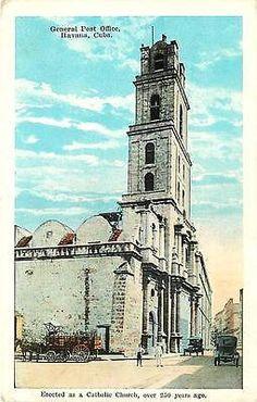 Havana Cuba 1920s Post Office in Old Catholic Church Antique Vintage Postcard