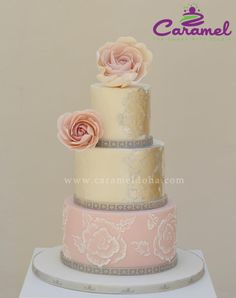 Simple Wedding Cake by Caramel Doha - http://cakesdecor.com/cakes/242607-simple-wedding-cake