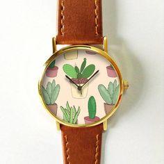 Cactus Plant Collection Watch , Vintage Style Leather Watch, Women Watches, Boyfriend Watch, Men's watch, Summer Pink Green