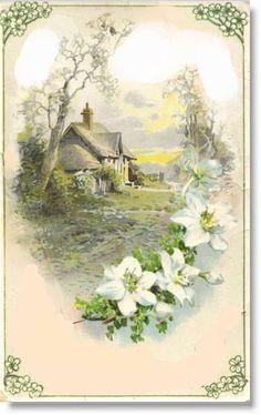 Raindrops and Roses Vintage Greeting Cards, Vintage Ephemera, Vintage Paper, Vintage Postcards, Vintage Images, Landscape Art, Landscape Paintings, Botanical Illustration, Illustration Art