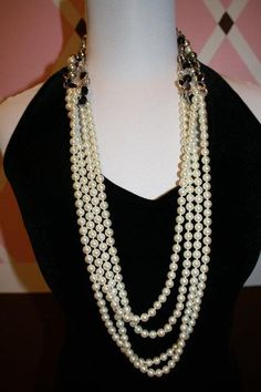 Opening Night pearls looped with Opulence necklace.  Pin can be added to the side.