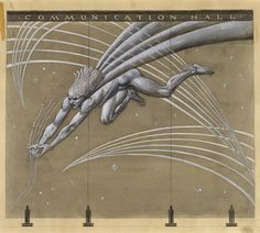 "Hildreth Meiere, ""Design for Sand-Blasted Glass Mural: Mercury Gathering Air Waves Amidst Planets and Stars"", 1932. collection.CooperHewitt.org.18692609"