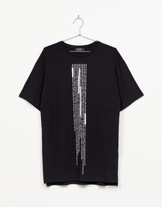 Vertical print T-shirt. Discover this and many more items in Bershka with new products every week