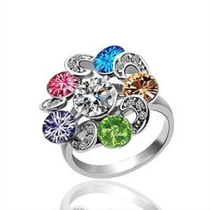Plated White Gold Ring Floral Fancy Crystal Ring