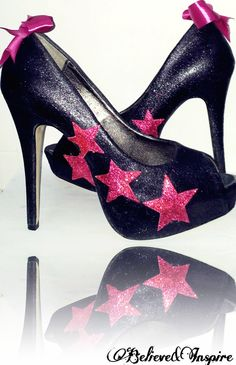 DIY glitter heels, with pink stars!!! I need to make these!!!
