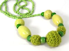 Multi-Textured Lime Green Necklace by Golden Heart Crafts Crochet Necklace, Beaded Necklace, Necklaces, Golden Heart, Heart Crafts, Green Necklace, Lime, Beaded Collar, Limes