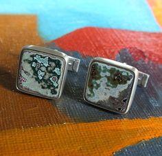 Fordite Cufflinks Oxidized Sterling Silver Cuff Links on Etsy, $225.00