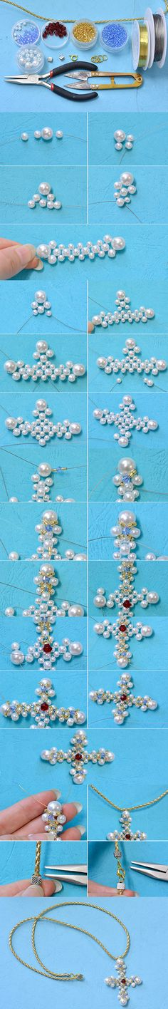 Tutorial on How to Make a Pearl Cross Pendant Necklace with Leather Cord from LC.Pandahall.com  #pandahall