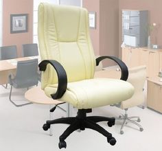 Pin it :-) Follow us :-)) AzOfficechairs.com is your Office chair Gallery ;) CLICK IMAGE TWICE for Pricing and Info :) SEE A LARGER SELECTION of  space office chair at http://azofficechairs.com/?s=space+office+chair - office, office chair, home office chair - Frugah New Cream Pu Leather Ergonomic Office Chair Manager Seat High Back « AZofficechairs.com