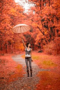 No rain just celebrating fall wind Under My Umbrella, Umbrella Girl, Jolie Photo, Rainy Days, Autumn Leaves, Autumn Harvest, Beautiful Places, Scenery, Seasons