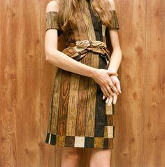 RODARTE SPRING 2011  new york; wood grain dress
