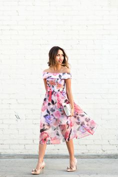 bc609c9e1c1 Asos Colorful Off-the-Shoulder Dress · Petite Wedding Guest DressesWedding  Guest AttireWhite ...