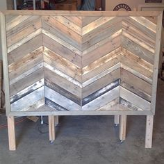 #chevron #headboard is nearly done. Just a few more trim pieces to stain & install & this baby should be installed tonight before bed! #palletwood & scraps from the garage make up most of it with just the frame bought for this #project. @ezragolightly plans, idea, and design - i just cut wood. #chevronsunday #sunday #homemade #homedepot #ryobination #diy