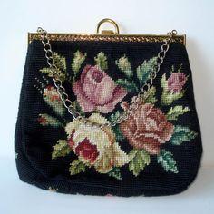 Vintage Black Floral Needlepoint Purse Handbag by vintagedame, $48.00