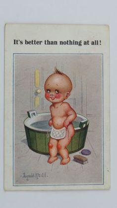 1922-Inter-Art-Donald-McGill-Comic-Postcard-No-3960-Baby-Bib-Bath-Time