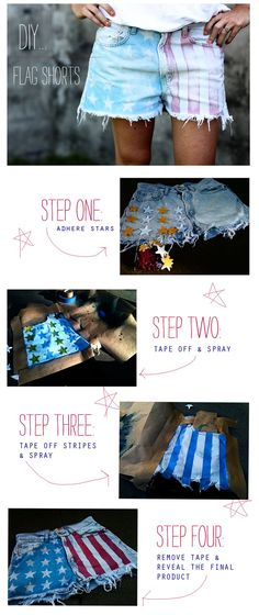 DIY flag shorts! Everyone's been buying them and I refuse to spend that much money and go on a wild goose chase for them so I'll definitely be doing this!