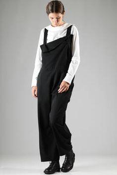 jumpsuit in wool gabardine with winglet flap on the bodice - Y'S Yohji Yamamoto