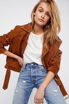 Drapey Suede Moto Jacket | Luxe genuine suede moto-inspired jacket featuring an adjustable belt at the waist. * Front zipper closure * Side zip pockets * Zipper detailing on the sleeves * Lined