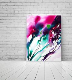 Hot Pink Abstract Wild Flowers Fine Art Print Ink Painting