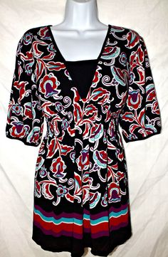 Style & Co Casual Multi Color Short Sleeve Women's Top Blouse Shirt  Size XL #Styleco #Tunic #Casual