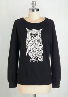 Cluck Be a Lady Sweatshirt. Go ahead, tell the world how much you adore this owl-printed sweatshirt! #black #modcloth