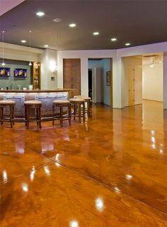 Acid stained concrete floors for the basement. Beautiful!