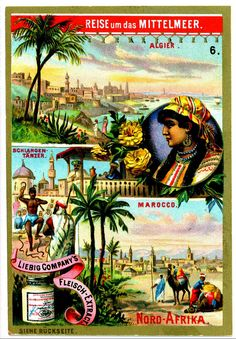 1894. A Journey Round the Mediterranean (No. 6: North Africa) trading card issued by Liebig Extract of Beef Company. S432.