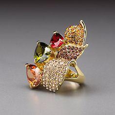 Multicolored Gem Leaf Design Ring by Lenox