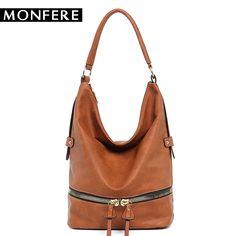 f038b9885c3d MONFERE large casual HOBO fashion faux leather zipper shoulder bags female  leisure luxury handbags women bags