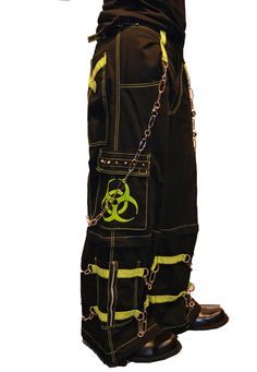"""Tripp NYC """"Biohazard"""" Bondage Pants With Zip Off Legs to Shorts (Black/Lime Green)"""