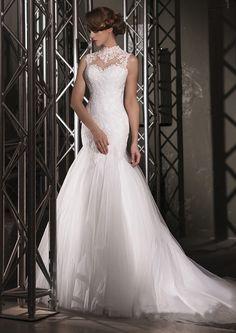 High Neck Lace Mermaid Wedding Dresses Sheer Back Tulle Train Elegant Bridal Gowns