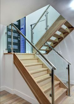 Stainless Steel Glass Railing Square Stairs Lower Post - Inline Design