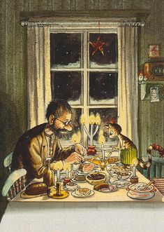 One of the most beautiful christmas drawings I know, by swedish illustrator Sven Nordqvist. Art And Illustration, Christmas Illustration, Swedish Christmas, Vintage Christmas, Christmas Books, Christmas Inspiration, Cat Art, Illustrators, Art Drawings