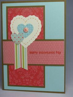 Included is one handmade Valentines Day card featuring a brown base that was layered with blue cardstock and coral-colored designer print paper.  Use coupon code PIN12 to save 12% now!