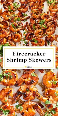 Firecracker Shrimp Skewers Need recipes and ideas for easy grilled or baked in ovens entrees appetizers or dinners and meals These sweet and spicy shrimp are great for gr. Fish Recipes, Seafood Recipes, Cooking Recipes, Healthy Recipes, Skewer Recipes, Easy Grilled Shrimp Recipes, Recipes Dinner, Chicken Recipes, Frozen Shrimp Recipes