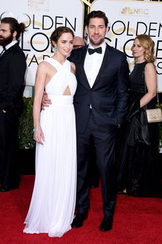 Pin for Later: Hollywood's Hottest Couples Take Over the Globes Red Carpet Emily Blunt and John Krasinski