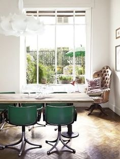 .Awesome green chairs and corner chair