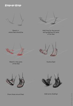 """owl-and-the-moon: """"How about some feet and shoes, Tumblr! I always found shoes a bit of a mystery so I did a section just on them. It all gets down to that hump around the toes and then bending the..."""