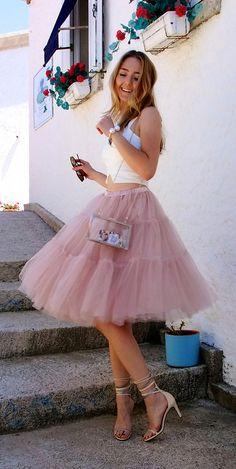 Stylish Two-Pieces Tulle Sleeveless Homecoming Dress Tulle Dress, Dress Skirt, Dress Up, Tulle Skirts, Tulle Tutu, Pink Tulle, Midi Skirt, Dama Dresses, Short Dresses