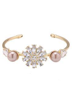 Faux Crystal Triangle Flower Bracelet #women, #men, #hats, #watches, #belts, #fashion