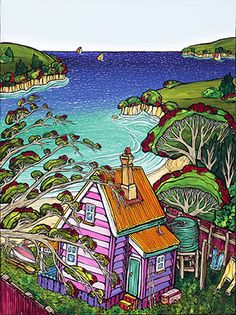 Dreamer's Beach - by NZ artist, Fiona Whyte. Available as a matted mini-print from www.imageault.co.nz