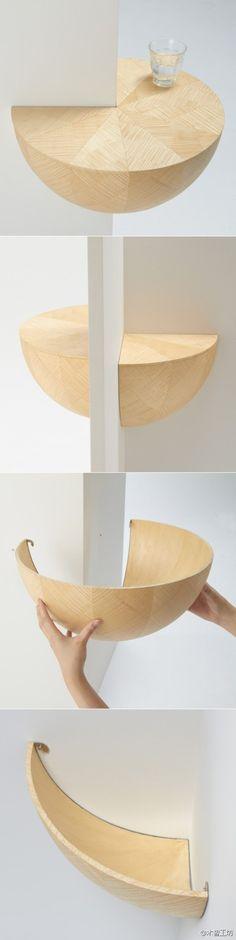 """日本Torafu Architects工作室设计的碗型置物搁板""""Catchbowl"""",可以巧妙利用墙角的空间。"""