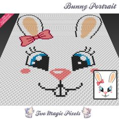 Bunny Portrait is a graph pattern that can be used to crochet a blanket using (Corner to Corner), TSS (Tunisian Simple Stitch) and other techniques. Chevron Crochet, Pixel Crochet, C2c Crochet, Crochet Bear, Crochet Blanket Patterns, Cross Stitch Patterns, Crochet Afghans, Bunny Blanket, Corner To Corner Crochet