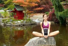 An attractive woman sits on a rock in the middle of a pond doing meditation Perfect Image, Royalty Free Images, Tank Man, That Look, Health Fitness, Relax, Stock Photos, Pond, Meditation