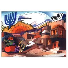 Pray for the Peace of Jerusalem Signed Print by Israeli artist, Bracha Lavee. Available in two sizes.