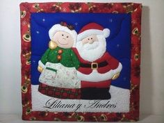 Christmas box - Patchwork without needle - Mom and Santa Claus Christmas Sewing, Christmas Crafts For Kids, Xmas Crafts, Christmas Ornaments, Tutorial Patchwork, Advent Calendar, Sewing Crafts, Quilts, Halloween