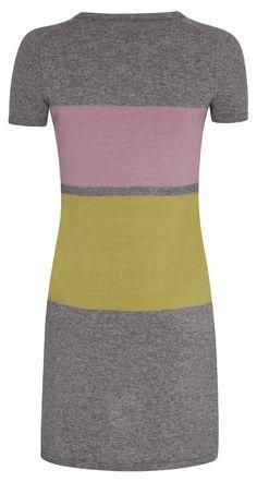 Robe tricolore en laine cachemire color block