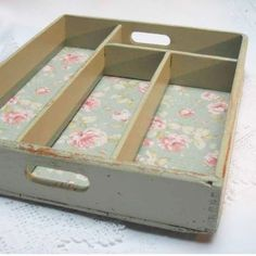 Painted wooden cutlery tray, lined with vintage style floral fabric.